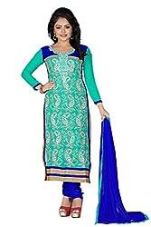 JHEENU Turquoise Women's Faux Georgette unstitched Straight Salwar Suit dress...