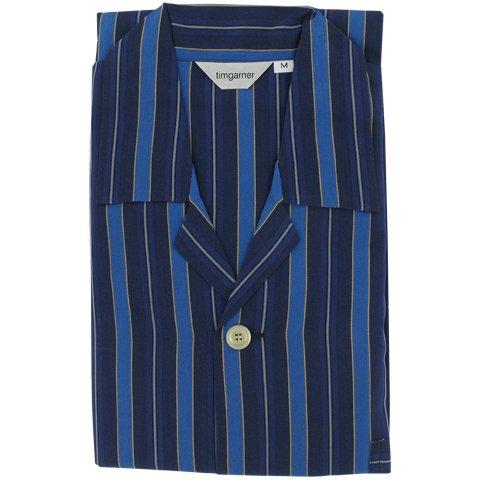 Men's Nightshirt - Navy and Light Blue Satin Stripe