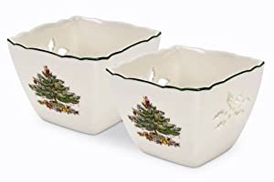 #!Cheap Spode Christmas Tree Pierced Votives with Tea Lights, Set of 2