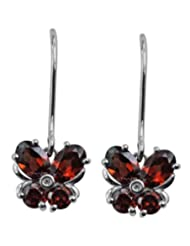 Carillon India Red Garnet & White Topaz Sterling Silver Drop Earring