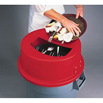 San Jamar KA4400 44 Gallon Red Round Tableware Retriever Trash Can Lid