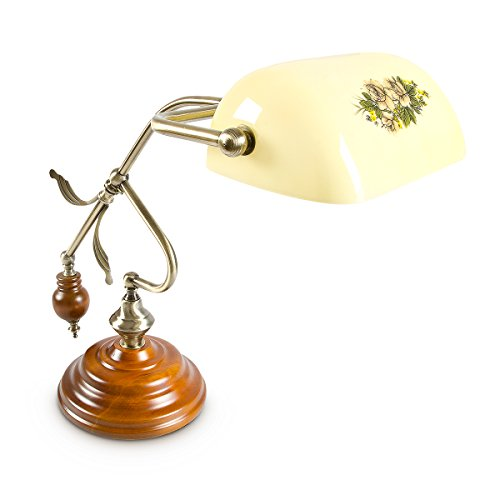 Relaxdays Lampada da Scrivania Lume Letto Como Comodino Lumino Lampada Faro Lampadina con Ottica Ottone in Stile RetroŽ, Altezza 44 cm