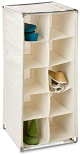 Honey-Can-Do 10-Pair Shoe Organizer, Storage Cubby, Natural