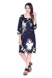 MSONS Women's Black Clouds Printed Square Neck Short Dress in Rayon Fabric