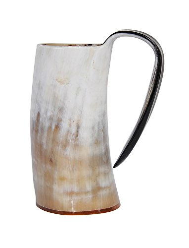 Marycrafts Buffalo Horn Mug Beer Beaker Stein, Tumbler Viking Drinking Cup with Handle Medieval Renaissance Light Shade (Beer Mugs Medieval compare prices)
