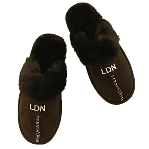TDXIE Scarpe pantofole invernali coppia uomini e donne caldo cotone peluche pantofole , black , 36-37