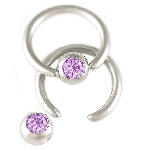 2Pcs 16g 16 gauge 1.2mm 1/4 6mm Steel eyebrow tragus lip ear ring bcr captive bead bar Crystal Violet Pierced Body Jewellery AEBZ
