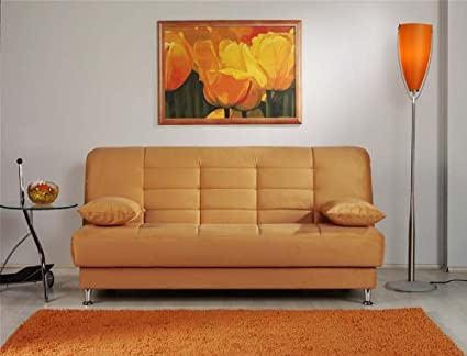 Vegas Rainbow Light Orange Convertible Sofa Bed by Sunset