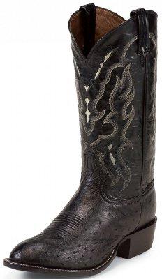 Men's Tony Lama 13 inch Ostrich Boots Black, BLACK, 10