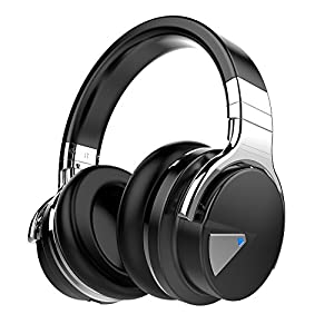Cowin E-7 Active Noise Cancelling Wireless Bluetooth Over-ear Stereo Headphones with Microphone and Volume Control - Black
