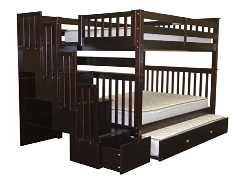 Stairway Bunk Bed Full over Full in Cappuccino with 4 Drawers Built in to the Steps and a Full Trundle