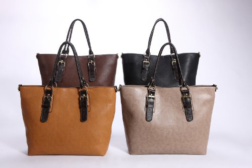 (REAL LEATHER Trims) 2 in 1 Quality New Ladies Womens Faux Leather Handbags, Shoulder Bags, Tote Bags, Large size, 6 Colours Available