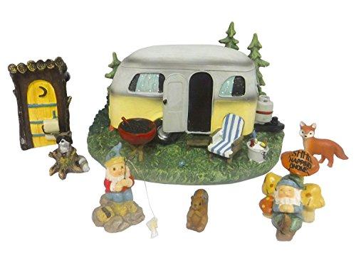 Miniature Gnomes on Vacation Camper Trailer Outdoor Fairy Garden Set