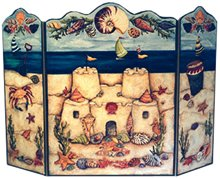 Beach Scene - 3 Panel Decorative Fireplace Screen
