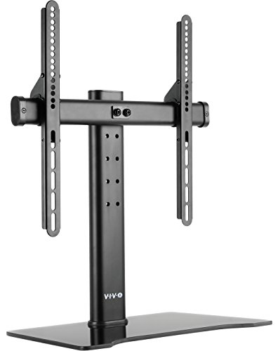 VIVO Universal LCD Flat Screen TV Table Top Desk Stand with Glass Base / fits 32