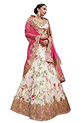 Ishin Silk Net Party Wear Embellished Off White & Pink Lehenga