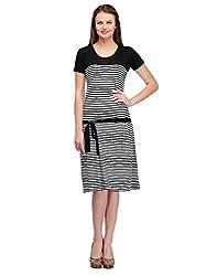 Colornext Cotton Black Dress for Women (Size: Medium)