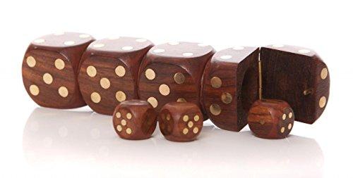 boite-en-bois-vintage-5-yahtzee-craps-jeu-de-des-shaker-cadeau-set-de-voyage