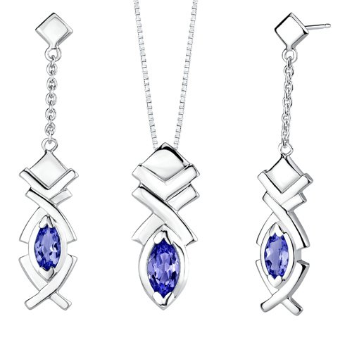 Revoni Marquise Shape Sapphire Pendant Earrings Set in Sterling Silver