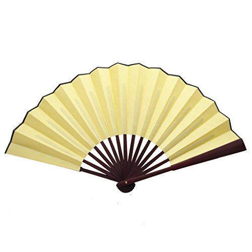 TrendBox Chinese Traditional Nylon-Cloth Handheld Folding Fan For Pratice Performance Dancing Ball Parties Unisex - Cream Yellow