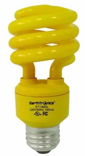 Earthtronics Cf13Bg1B 13-Watt Spiral Compact T3 Florescent Light Bulb, Bug Yellow, 12-Pack