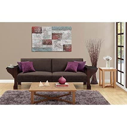 Dorel Home Products Sleeper Sofa Mahogany Wood Brown Chenille Solid Wood Arm Padded Seat Cushion Style Tray Split Back