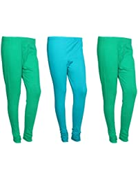 Indistar Women Cotton Legging Comfortable Stylish Churidar Full Length Women Leggings-Green/Turquoise-Free Size-Pack...