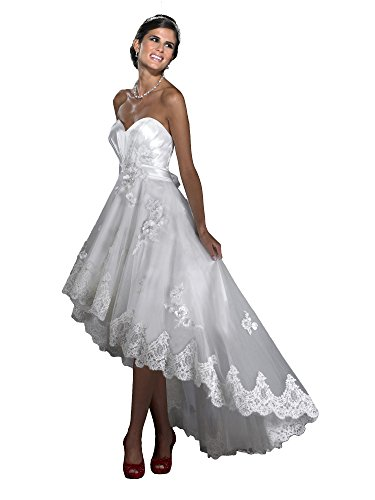 KAY&LAYLA High Low Crystal Beaded Lace Wedding Dresses Floral Belt Corset Back