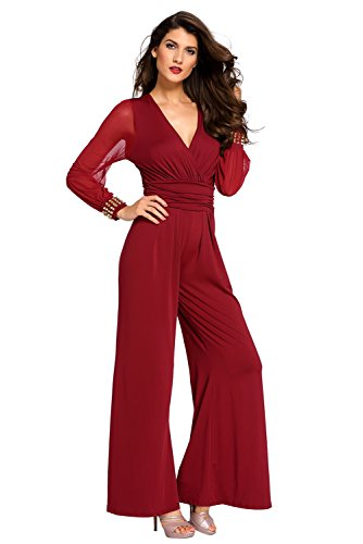 booty-gal-womens-embellished-cuffs-long-mesh-sleeves-jumpsuitsize-s-red
