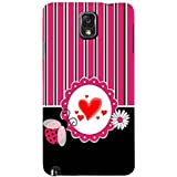 For Samsung Galaxy Note 3 :: Samsung Galaxy Note III :: Samsung Galaxy Note 3 N9002 :: Samsung Galaxy Note N9000 N9005 Red Heart ( Red Heart, White Circle, Black White Pink Line, White Flower, Stripes, Pattern, Flower ) Printed Designer Back Case Cover By