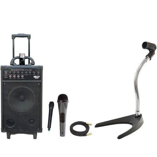 Pyle Speaker, Mic, Stand And Cable Package - Pwma860I 500W Vhf Wireless Portable Pa System /Echo W/Ipod Dock - Pdmik2 Professional Moving Coil Dynamic Handheld Microphone - Pmks8 U-Base Gooseneck Desktop Microphone Stand - Ppmcl50 50Ft. Symmetric Micropho