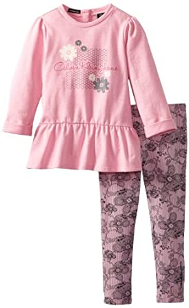 Calvin Klein Little Girls' Tunic with Printed Leggings 4-6X, Pink, 5