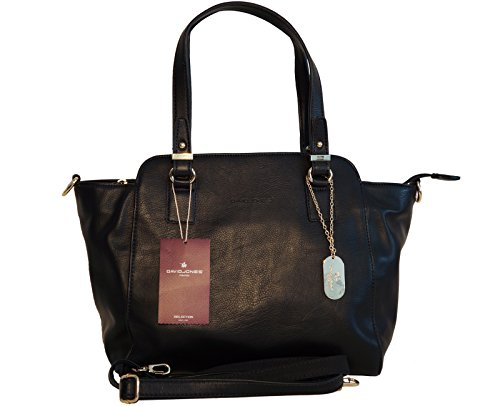 Borsa donna David Jones in ecopelle con manici e tracolla - nera