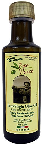 Extra Virgin Olive Oil, Papa Vince Fresh Harvest 2016, Family Made, 100% Unblended First Cold Pressed, Single Sourced from Sicily, Italy, Unfiltered, Unrefined, Robust, Rich in Antioxidants, 3 fl oz (Black Garlic Juice compare prices)