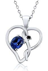 0.51 Ct Oval Blue Simulated Sapphire Black Diamond 18K White Gold Pendant