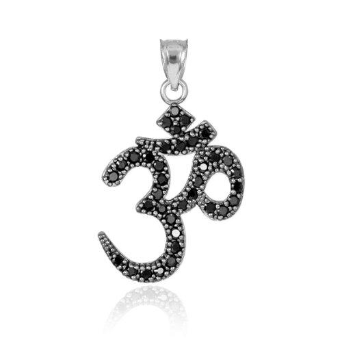 "14K White Gold Hindu Meditation Charm Yoga ""Om"" (Aum) Black Diamond Pendant"