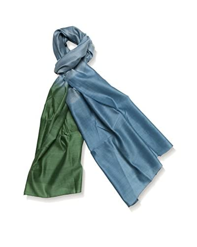 a & R Cashmere Women's Handmade Natural Silk & Wool Ombre Wrap, Emerald/Turquoise