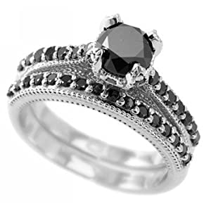Amazon.com: Fancy Black Diamond Engagement Ring/Wedding ...