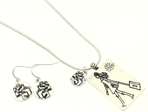 NECKLACE AND EARRING SET LINK METAL SILVER Fashion Jewelry Costume Jewelry fashion accessory Beautiful Charms