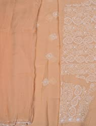 Exotic India Peach Chikan Salwar Kameez Fabric from Lucknow with Hand-Em - Peach