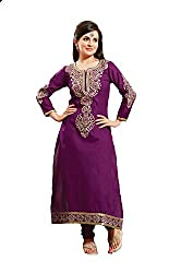 Fadattire Womens Cotton Straight Dress Material (Acsi03 -Purple -Free Size)