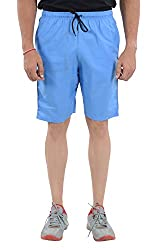 LLUMINATI Men's Cotton Shorts (Bermuda Skyblue, Sky Blue, L)