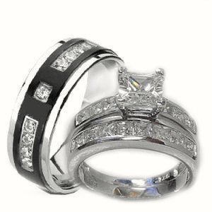 His & Her 3 Piece Wedding Ring Set White Gold