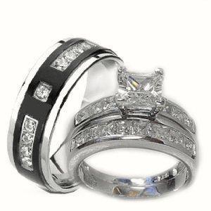 His & Her 3 Piece Wedding Ring Set White Gold