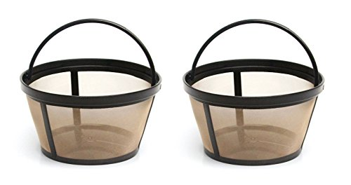 2 Pack Non-toxic Basket Gold Tone Permanent Coffee Filter 10 - 12 cup, Acid-proof, Alkali and Heat Resistance (Kitchen Aid 10 Cup Coffee Carafe compare prices)