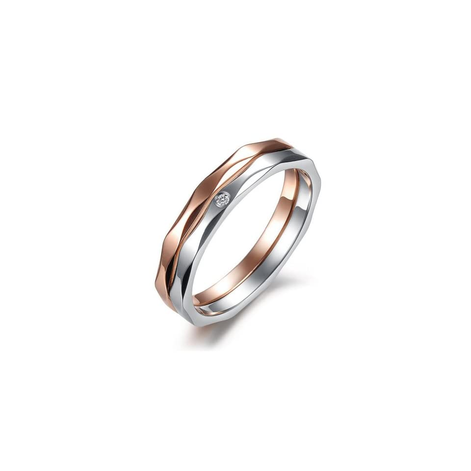 JewelryWe New Black His or Hers Gold Color Plated Stainless Steel Couples Promise Love Rings Mens Ladies Engagement Wedding Band in Gift Bag (Golden Tone) Jewelry