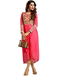 Lovely Look Red Embroidered Stitched Kurti LLKFNA3104_XL