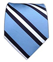 100% Silk Woven Light Blue and Navy Power Striped Tie