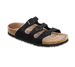 Birkenstock Women\'s Florida Soft Footbed Sandal,Black Nubuck,38 EU/7 B(M) US Women/5 D(M) US Men