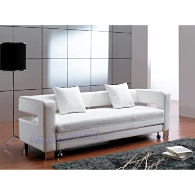 contemporary furniture modern white leather sofa bed sleeper living room. Black Bedroom Furniture Sets. Home Design Ideas